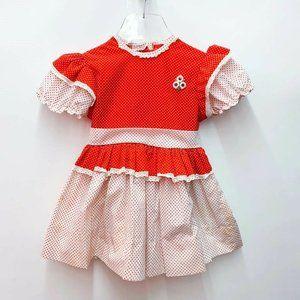 Vintage 1970s Cottagecore Polka Dot Ruffle Dress 6